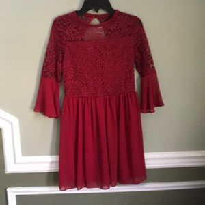 Burgundy Big Girl Dress
